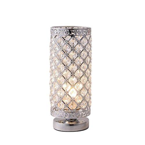 LEGELY Mode en Acier Inoxydable Cristal Table Lampe Chrome Argent E27 Base Lampe de Bureau pour Salon Chambre Chevet Lumière LED