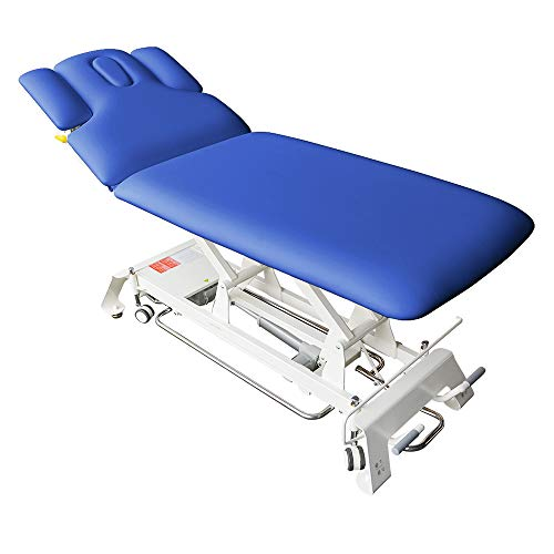 Elektrische Massageliege Houston Höhenverstellbare 2 Zonen Profi Behandlungsliege ca. 198 x 74 cm Kosmetikliege Therapieliege mit vielen Extras (Blau)