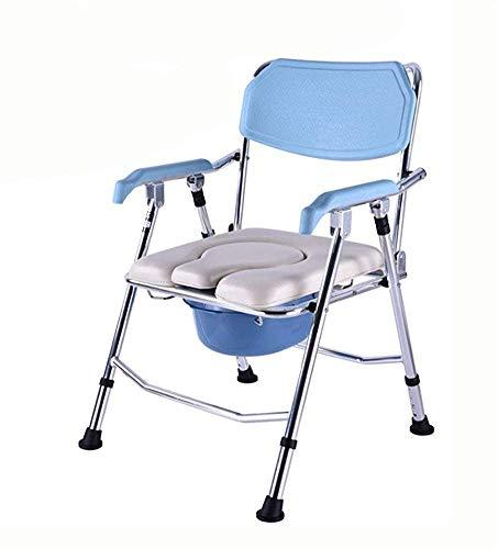 TWL LTD-Wheelchairs Kommode Stuhl Klappbett Kommode Sitz mit Kommode Eimer und Spritzschutz, Schwangere Frau Bad Stuhl Faltbare