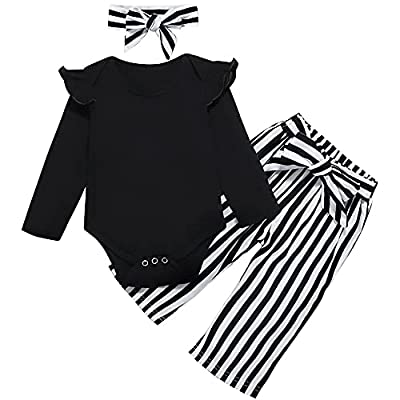 Toddler Baby Girl Clothes Ruffle Long Sleeve top Striped Long Pants Headband 3Pcs Baby Winter Clothes Set Black by