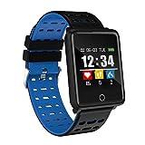 JingJingQi Reloj Inteligente Reloj Hombres Mujeres para Android Teléfono de Apple Impermeable Rastreador de frecuencia cardíaca Presión Arterial Oxígeno Deporte, Azul
