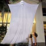 Idefair Hanging Ghost Props Halloween Decoration, Screaming Skeleton Flying Ghost Skull for Indoor, Outdoor Yard Party Bar (White)