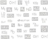 ネイルシール アルファベット 文字 パート2 ブラック/ホワイト/ゴールド/シルバー 選べる44種 (シルバーSP, 27)