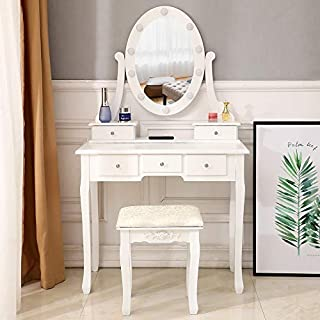 ryokozashi Vanity Table Set with 5 Drawer, Makeup Dressing Table Cushioned Stool Wood Dressing Table Girls Women Bedroom Makeup Table White