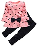 Kids Long Sleeves Cute Heart Pattern T Shirt Tops with Bow Tie + Pants Set 2 Pieces Outfit For Toddler Baby & Little Girls, Pink, Age 18-24 Months = Tag 90