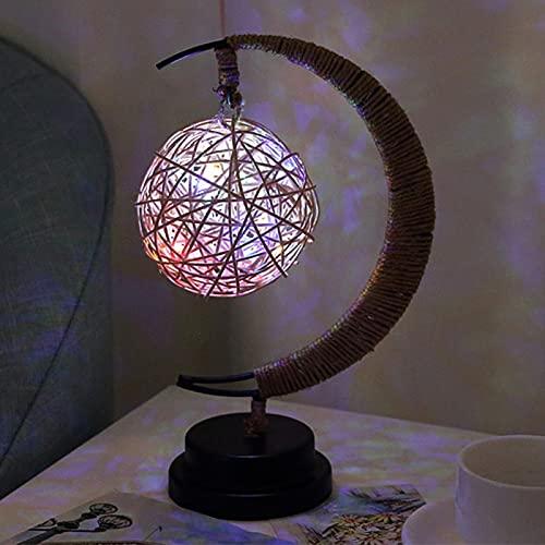 YHUS Hem-p Cuerda Luz de Noche, Led Star Moon Luz de Noche, Pantalla de Cristal de la Lámpara Moderna, Pentagram/Ball/Sepak Takraw Forma Diseño Lámpara de Escritorio Decorativa (Bola)