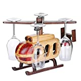 Solid Wood Wine Rack,Detached Wood Helicopter Bottle Rack Wine Glass Holder,Country Style Wine Stand,Decorative Wine Holder(15.55 '' *14.76'' *10.63 '')