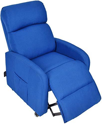 Fullwatt Kids Recliner Chair w/Lockable Carster Wheels,Side Storage Pocket,Fabric Recliner Chair Adjustable Ergonomic Single Recliner Sofa Antiskid Fabric Sofa Living Room Chair (Blue-Kids)
