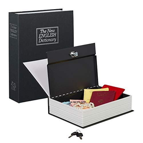 Relaxdays Buchtresor groß, verschließbar, Stahlkassette, mit 2 Schlüsseln, Geldkassette HxBxT: 27 x 20 x 6,5 cm, schwarz