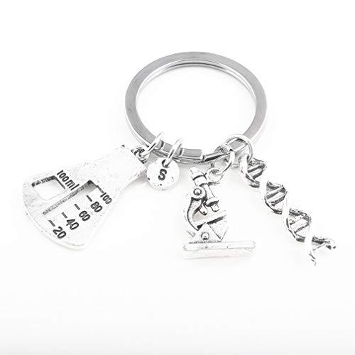 KUHRLRX Auto Keychain Anhänger Halskette Lange Pullover Schlüsselbein Kette Frauen DNA Spiral Mikroskop Dreieck Anhänger Schlüsselanhänger Halskette, Keychain