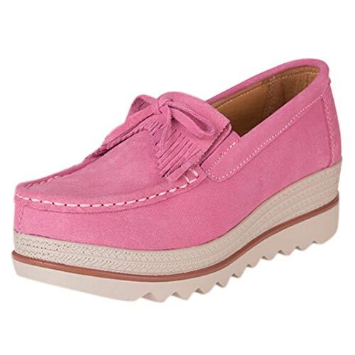Platform Wiggen Schoenen Voor Dames Klassiekers Suède Instappers Mocassins Ronde Neus Ondiepe Mond Loafers Casual Ademend Dikke Sneakers
