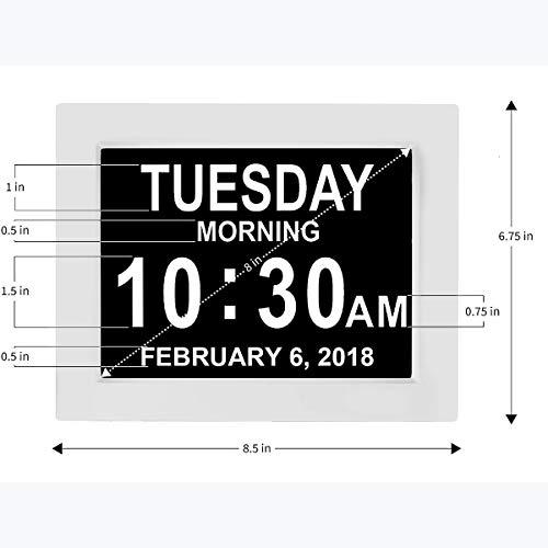 Sunsbell Digital 8' Multifunción Reloj Despertador, LCD Reloj Digital Calendario Fecha Día Hora Reloj Atenuación automática para Todos Especialmente Alzheimer y Niños