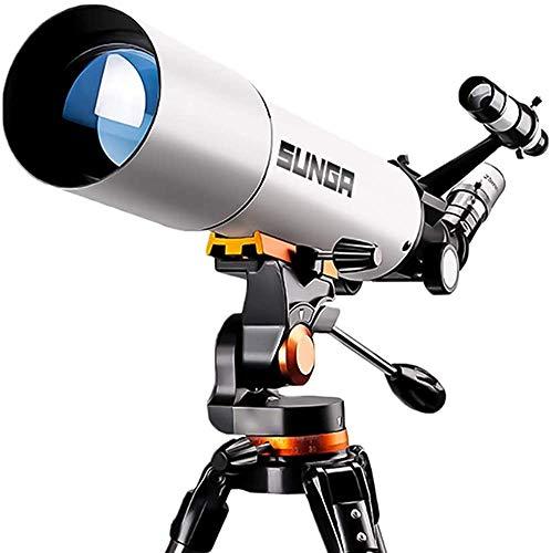 SUNGA 天体望遠鏡 口径80mm 焦点距離500mm キャリーバッグセット 望遠鏡 単眼鏡 スマホ撮影 屈折式 経緯台 ステンレス三脚 天体観測 初心者