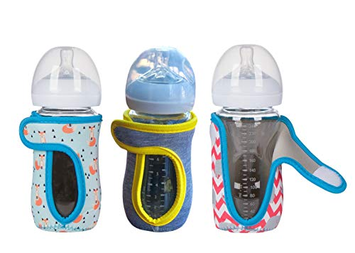 8oz (Set of 3 pcs) Miracle Bean Neoprene Baby Bottle Sleeves – Adjustable Sleeves. Glass Bottles – Improved Heat/Cold Retention – Moisture, Non-Slip Grip – Fox, Elephant and New Color Heather Grey