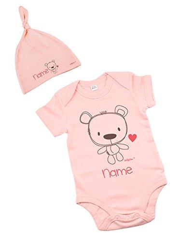 Striefchen® rosa Geschenkset zur Geburt - Body und Mütze mit Namen - Gr. 6-12 Monate mit niedlichem Teddyprint