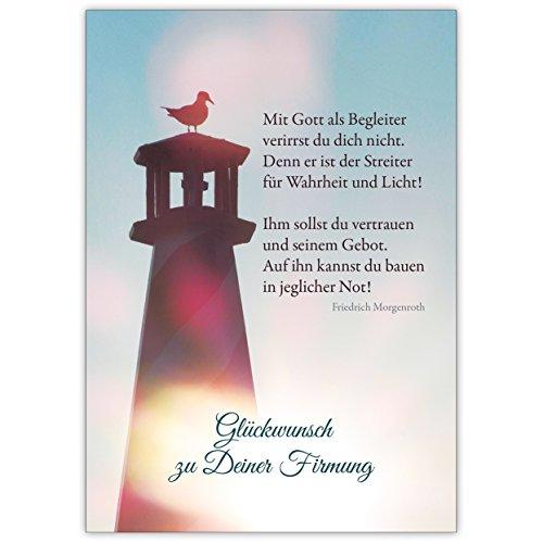 Mit Gott als Begleiter. - schöne, moderne Glückwunschkarte zur Firmung mit Morgenstern Zitat • hochwertige Klappkarte mit Umschlag als kleines Geschenk, für Geldgeschenke