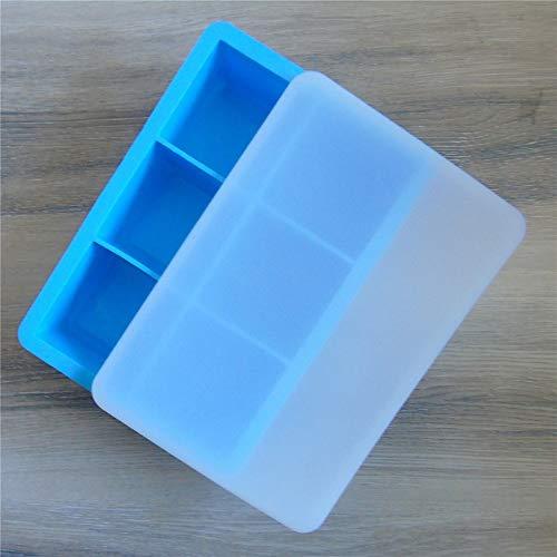 Voedselkwaliteit Siliconen 6-gaats met deksel Siliconen ijsblokjes ijsdoos voor Whiskey, Cocktails, Chocolade, Drankjes, enz. (2 Pakketten) Blauw