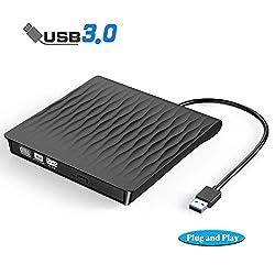 powerful External CD-DVD drive, USB3.0 slim external CD / DVD +/- RW drive rewriter burner, DORISO…