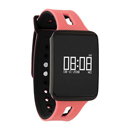 KETO Fitnesstracker voor dames en heren, armband met hartslagmeter, smartwatch bloeddruk, smartwatch zwemmen, sporthorloge, donkervuur, Sunset Peach, 0.96 inch, Sunset Peach