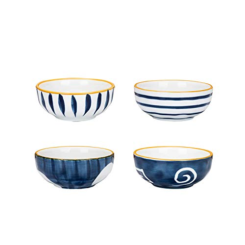 MDZF SWEET HOME Porcelain Sauce Dishes Side Dish Sushi Dipping Bowls Japanese Style Tableware Serving Dish Appetizer Plates Stackable Ramekins, Set of 4