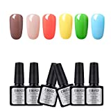 Elite99 3 en 1 Esmaltes en Gel UV LED, 6pcs Kit de Esmaltes Semipermanentes (002)