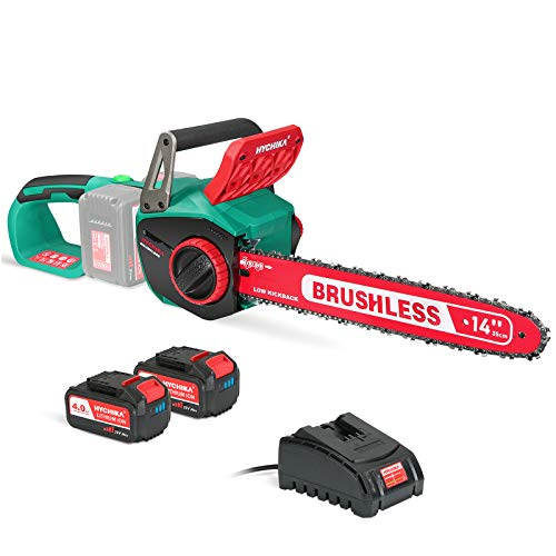 Chainsaw 40V Max, HYCHIKA 14 Inch 80mL Brushless Chainsaw, 2 PCS 40000mA Battery with Fast Charger, Cordless Chainsaw Low Kickback for Cutting Tree, Wood, Garden and Farm(100ml Lube Included)