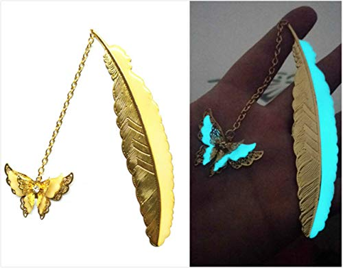 NineSoil Luminous Bookmarks,3D Feather Metal Book Marks with Gift Box Glow in The Dark Bookmarks Gifts for Women Reading Lovers Men Kids (Golden Butterfly)