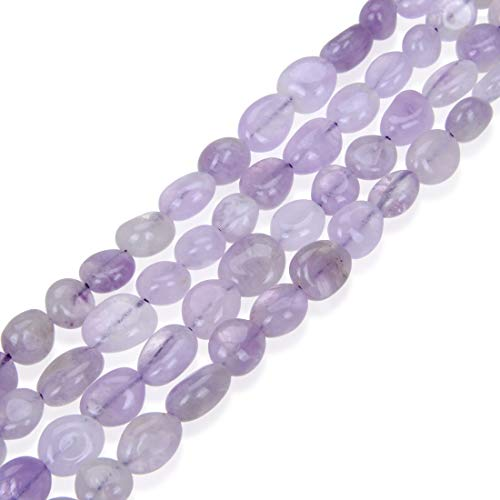 1 Strand Natural Purple Lavender Jade Gemstone 8mm to 12mm Free Form Oval Pebbly Stone Beads 15 inch for Jewelry Craft Making GZ12-19