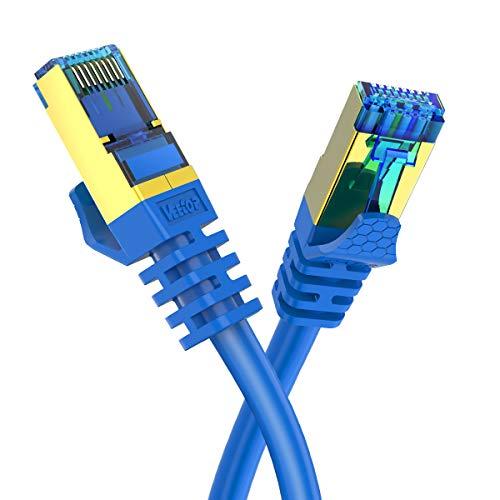 Veetop Cable Ethernet Cat 8 de Red con Conectores rj45 Oro para 40 Gigabit Internet LAN Plano 0.5m Azul