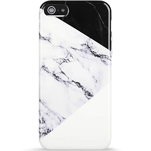 VIVIBIN iPhone 5 Case,iPhone 5s Case,iPhone SE Case,Black White Marble Slim-Fit Anti-Scratch Shock Proof Flexible Soft Silicone TPU Cover Protective Phone Case for iPhone 5/5s/SE-NOT for iPhone 5C