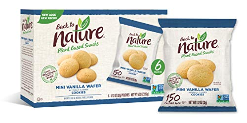 Back to Nature Cookies, Non-GMO Mini Vanilla Wafer, 1.12 Ounce Grab & Go Bags, 6 Count (Pack of 4)