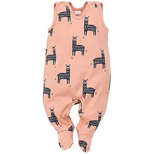 Pinokio - Happy Llama - Baby Strampler (Schlafanzug/Einteiler) 100% Baumwolle - ärmellos Orange/Apricot - Lama Motiv - Kinder Mädchen Jungen (56)
