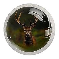 4個のキャビネットノブクリスタルガラスの引き出しハンドルカメラを見て鹿の刺す ドレッサーデスクキッチンドア用