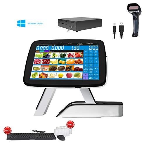 Caisse enregistreuse pour petites entreprises avec imprimante de reçus thermique intégrée + scanner de codes-barres + tiroir-caisse + système Win10 Pro
