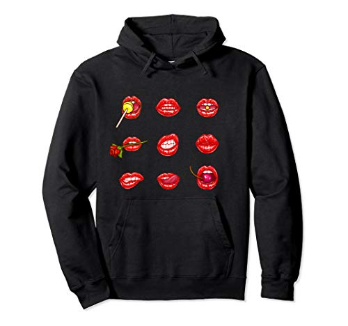 Hot red Lips Mood Mouths Bite Tongue Out Smile Smirk Kiss Pullover Hoodie