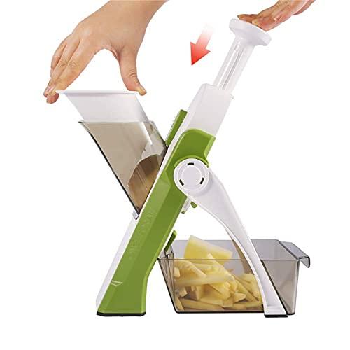 Artefacto para picar de cocina multifunción 5 en 1, niveles para rebanar, cortar en dados, picar, en juliana, chips de verduras, diseño libre de lesiones, con recipiente de captura, cepillo (Green)
