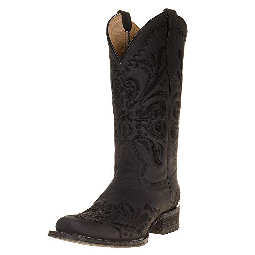 CORRAL Women's Embroidery Western Boot Square Toe Black 10 M