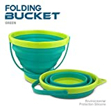 Collapsible Bucket Silicone Foldable Pail 2.5 Liter, Sand Beach Pail for Kids DT Toys (Blue)