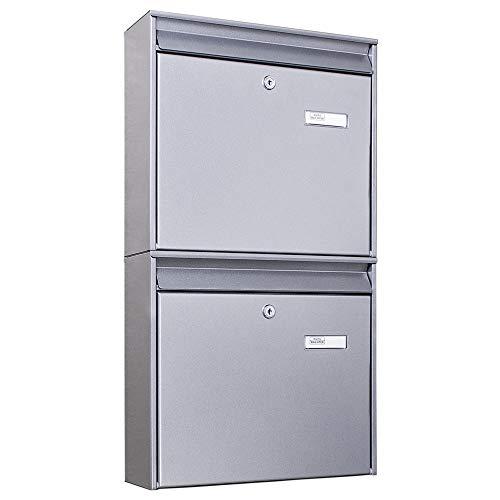 Burg-Wächter Briefkastenanlage 2 Fach | 64,4 x 36,2 x 10cm groß Stahl silber DIN A4 | Briefkasten Set 2 Briefkästen mit Namensschild, 2 Schlüssel, Montagematerial