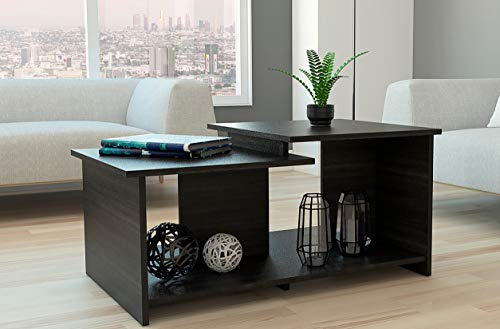 TUHOME Wema Collection Coffee Table, Cocktail Table with Two Level Surfaces Plus Open Storage Shelfs for Tall Decorations, Modern Design, Espresso Finish and Easy Assembly.