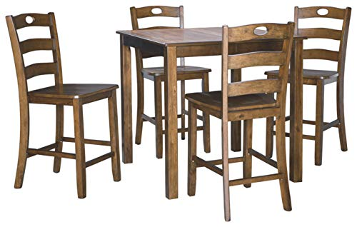 Signature Design by Ashley Hazelteen Counter Height Dining Room Table and Bar Stools (Set of 5), Medium Brown
