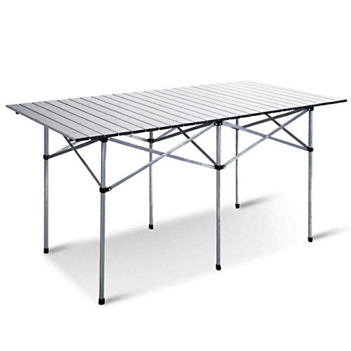 Giantex Folding Camping Table, Portable Picnic Table, Aluminium Patio Table, Roll Up Tabletop with Carrying Bag, Outdoor Compact Table for Hiking, BBQ, Party, 55' LX28 WX28 H