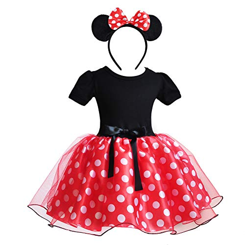 CQDY Mädchen Minnie Mouse Schuhe Tie Dot Bow Princess Sandalen Jelly Schuhe Weihnachten Geburtstagsgeschenk für Kleinkind/Little Kid (4 Jahre(Höhe110cm), rot 1)