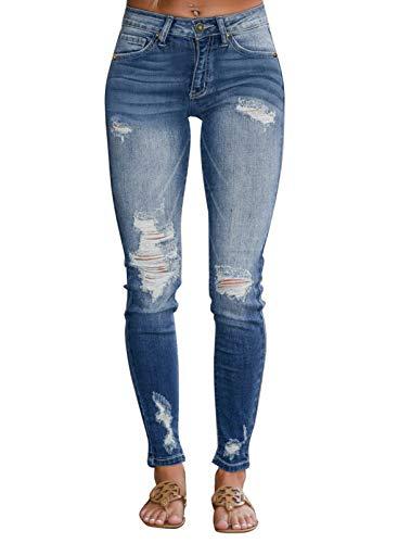 CORAFRITZ Pantalones vaqueros clásicos de pierna recta de talle alto desgastados para mujer