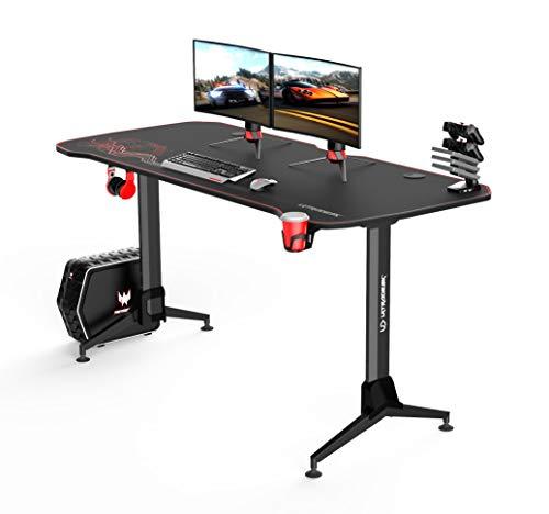 Ultradesk Grand ROT – Sehr großer Computertisch mit Höhenverstellung, L: 160cm T: 70cm H: 70-80cm, Gaming Tisch mit Langer Platte, Schreibtisch für Gamer