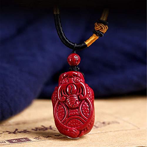Collar Feng Shui con colgante de cinabrio con colgante de tortuga dragón, amuletos de la suerte, talismán para protección, joyería, regalo para hombres y mujeres, atraer dinero de buena suerte