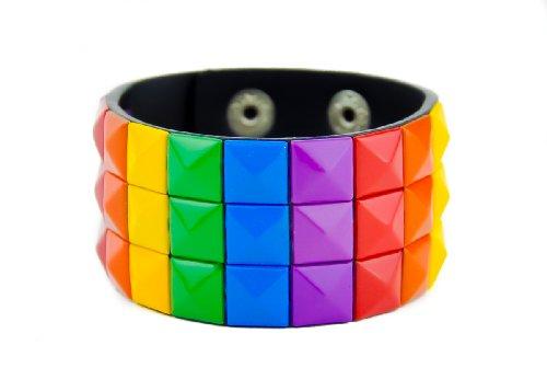 Rainbow Pyramid Stud Wristband Cuff Bracelet