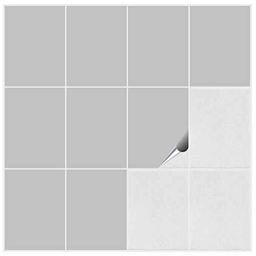 FoLIESEN Fliesenaufkleber für Bad und Küche - 15x20 cm - hellgrau matt - 90 Fliesensticker für Wandfliesen