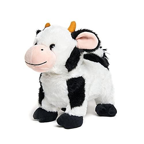 Cuddle Barn - Barnyard Buddies Cow   Animated Singing Cow Plush Stuffed Animal Walks and Wags Tail to Old Macdonald  8 inches