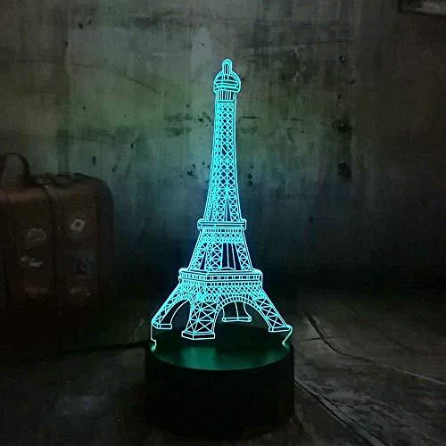 Ilusión óptica 3D Love Pari Torre Eiffel 7 colores Luz nocturna para niños Niños y niñas como regalos perfectos en cumpleaños o vacaciones